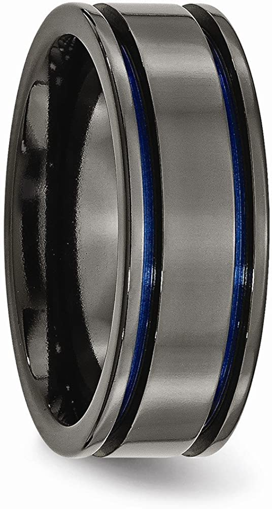 Ring Size Options JewelryWeb Titanium Grooved Engravable Black Ti with Blue Anodized Grooves 8mm Polished Band Ring 10 10.5 11 11.5 12 12.5 13 7 7.5 8 8.5 9 9.5