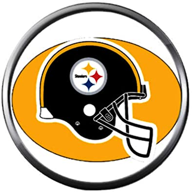 be265f6f Image Unavailable. Image not available for. Color: NFL Helmet Logo  Pittsburgh Steelers Football Fan Team Spirit 18MM - 20MM Fashion Jewelry  Snap Charm
