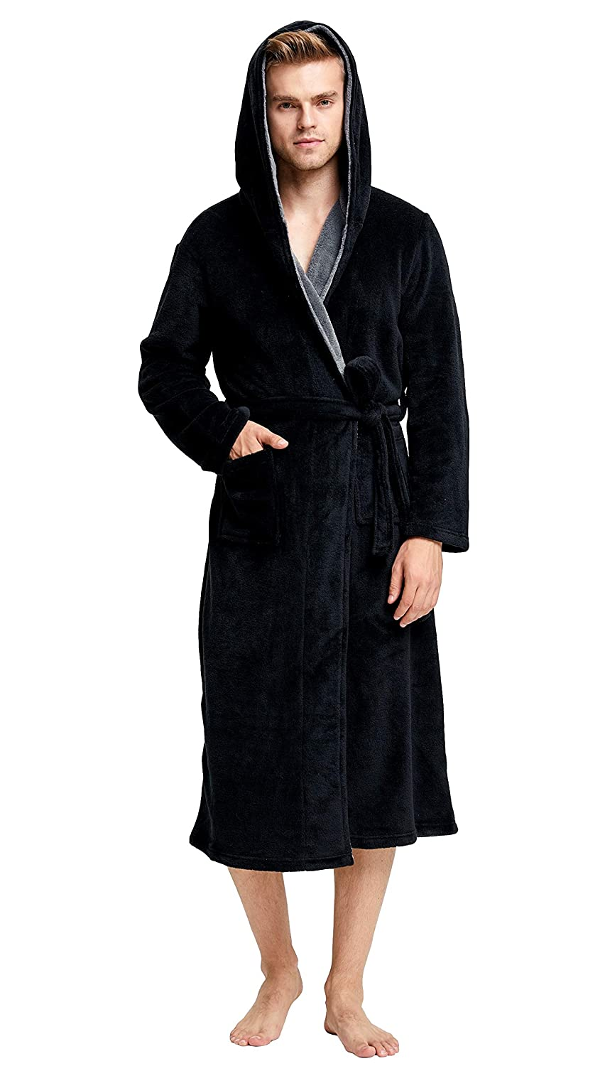 Men's Fleece Bathrobe Long Shawl Collar Plush Robe