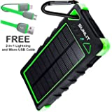 Solar Charger SUNLIT | Portable Power Bank with Flashlight | All Weather Condition | Shockproof Dustproof Waterproof IP67 | 16000mAh Dual USB Battery Pack For Iphone Samsung Android (GREEN)