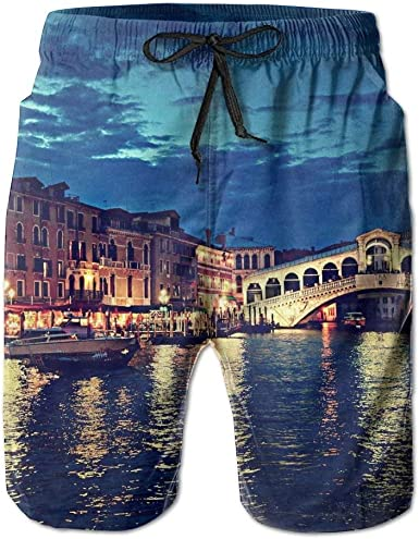 Mens Swim Trunks Venice in The Water Quick Dry Beach Board Shorts with Mesh Lining