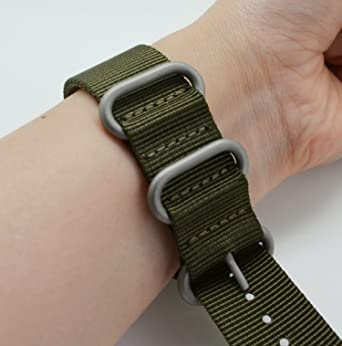 c554e8070c1 Amazon.com  MetaStrap 22mm NFC Nylon Strap Zulu Watch Band (Army Green)   Cell Phones   Accessories