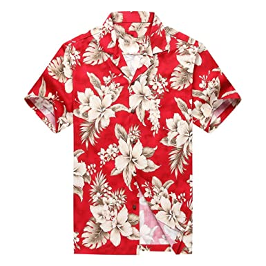 6ce012e35 Made in Hawaii Men's Hawaiian Shirt Aloha Shirt 3XL Grey Floral Cluster in  Red at Amazon Men's Clothing store:
