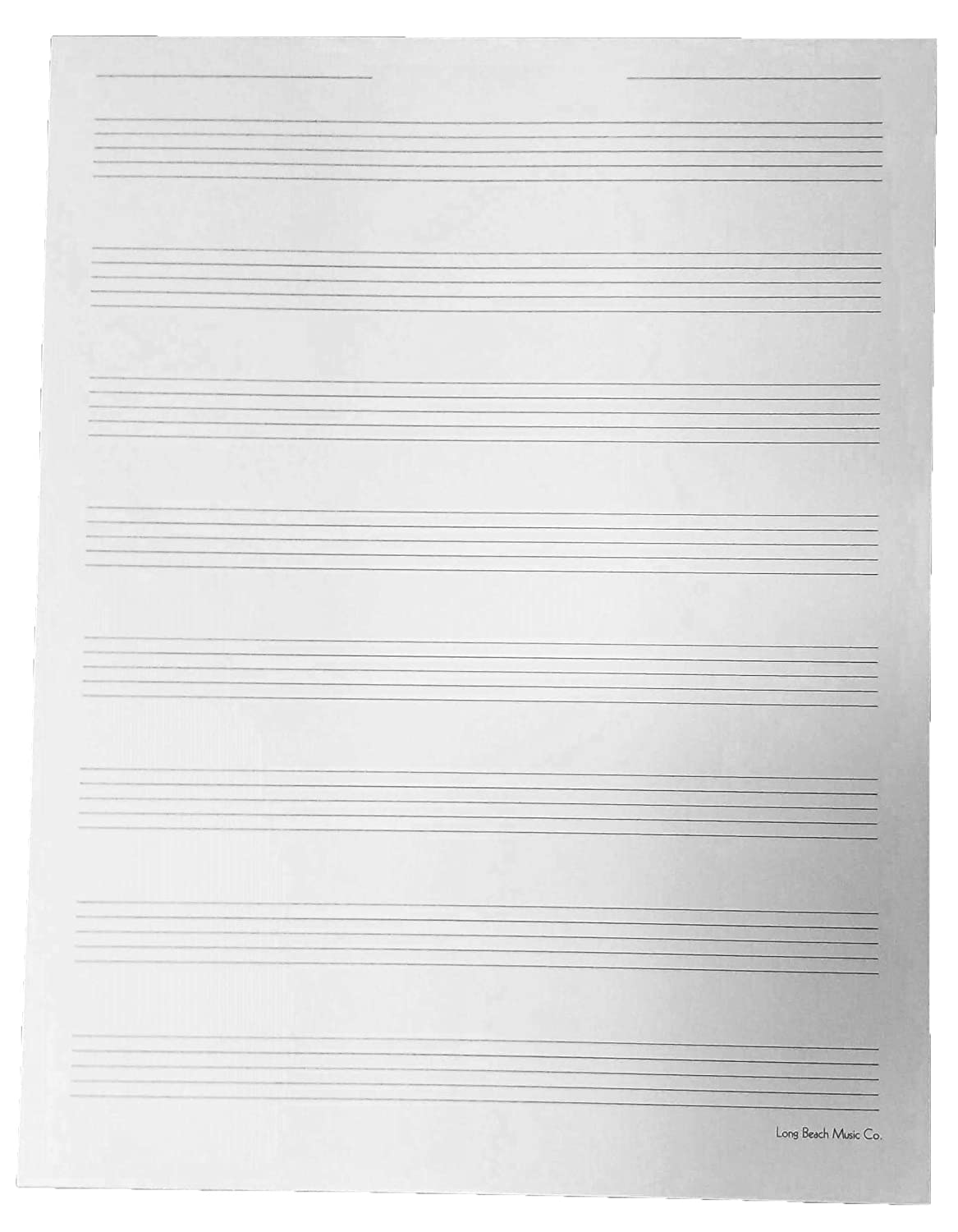 Manuscript Paper 8 Staff Wide Ruled for Sheet Music Composition, Song Writing, Piano Long Beach Music