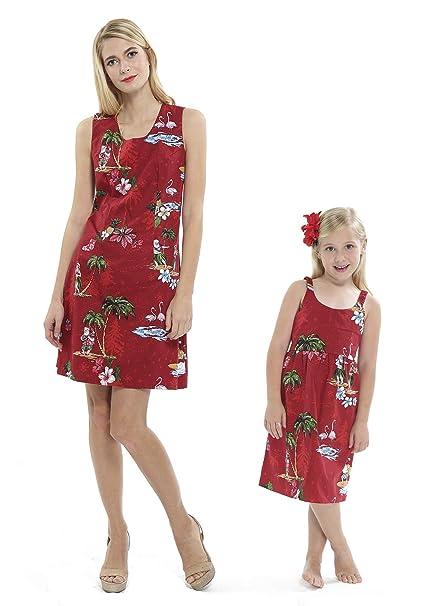 Madre Hija Hawaiian Luau Outfit Navidad Mujeres Vestido de niña Rojo Santa Flamingo: Amazon.es: Ropa y accesorios