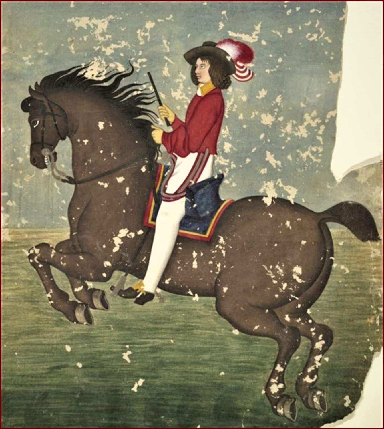 Amazon.com: Books & Arts Museum | Unknown Painter, c. 1800 : European Man  on Horseback, Persia, Persian, Iran Miniature Art Print, Size 12 X 15  inches W/Border: Posters & Prints