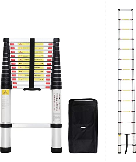 Todeco - Escalera Telescópica, Escalera Plegable - Carga máxima: 150 kg - Estándar/Certificación: EN131 - 4,1 Metro(s), Bolsa de transporte GRATIS, EN 131: Amazon.es: Bricolaje y herramientas