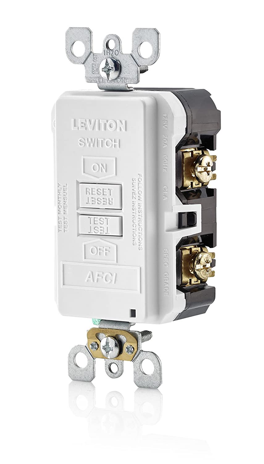 Leviton Afrbf W 20 Amp 120 Volt Smartlockpro Outlet Branch Circuit Light Switch Home Wiring Diagram Afci Arc Fault Interrupter Blank Face Receptacle White
