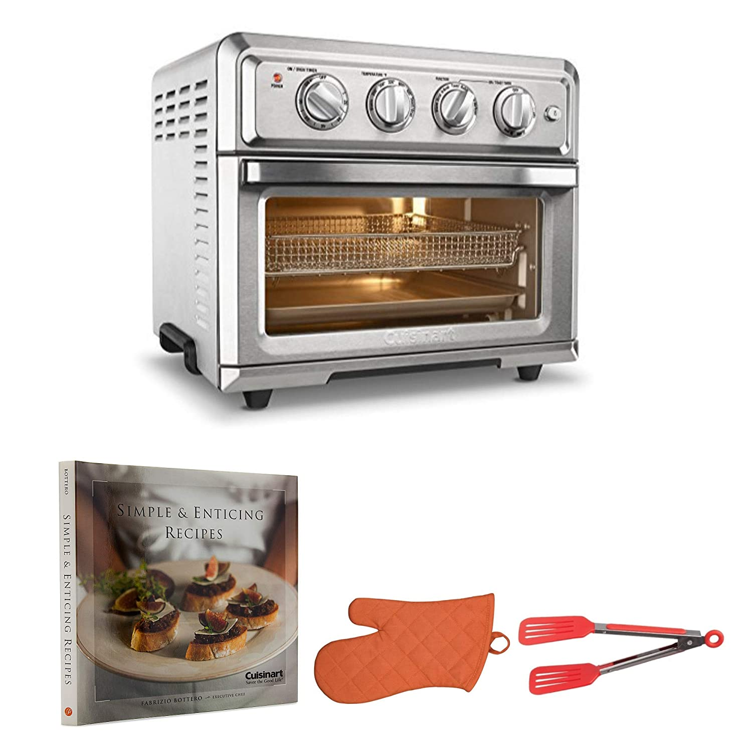 Cuisinart TOA-60 Convection Toaster Oven Air Fryer with Cookbook, Oven Mitt, and Flipper Tongs Bundle
