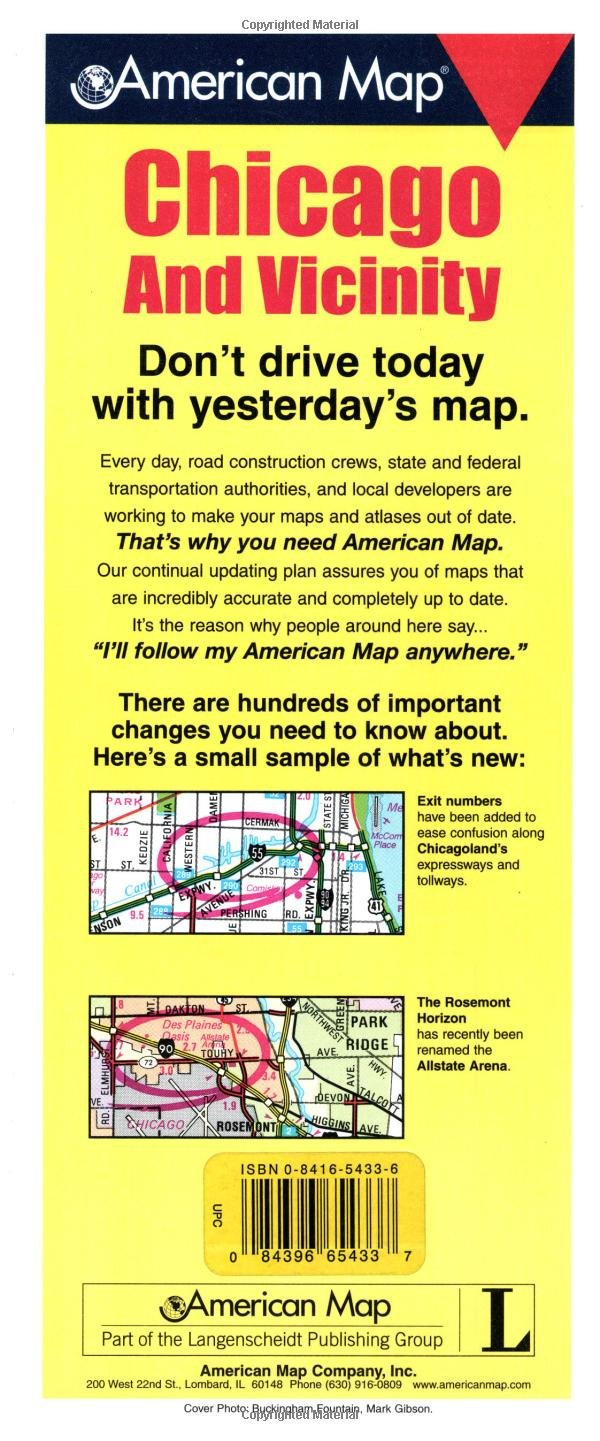 American Map Company Inc.Chicago Vicinity City Il Travel Vision Pocket Map Corporation