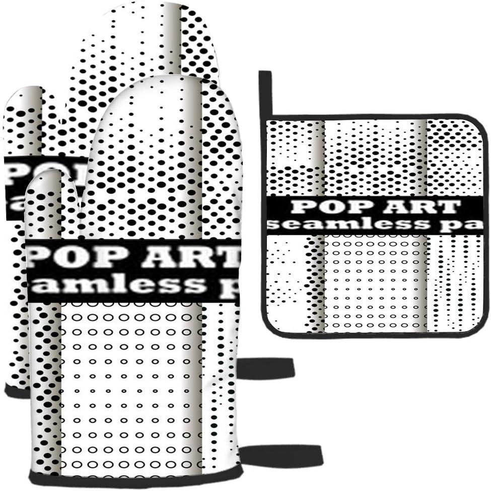 Rcdeey Guante de horno y soporte para ollas, diseño de lunares, estilo retro, de dos piezas, para cocina, resistente al calor, asado, máquina de barbacoa