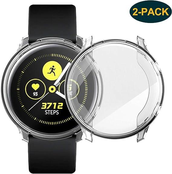 [Lot de 2] Coque transparente pour Samsung Galaxy Watch Active 40 mm, TPU anti-rayures, souple et souple pour Samsung Galaxy Watch Active Smartwatch