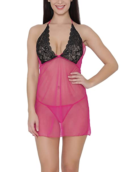 1540f5f7b Clovia Women s Sheer Babydoll with Lacy Cups   Matching Thong  (NS1075P22 Pink Medium)