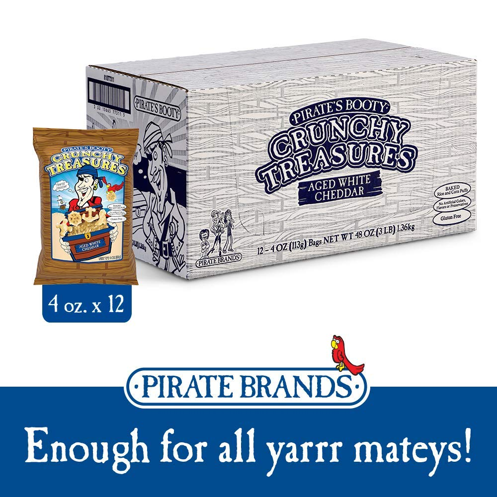 Pirate's Booty Crunchy Treasures, Aged White Cheddar, 4 oz. (Pack of 12) by Pirate Brands (Image #2)