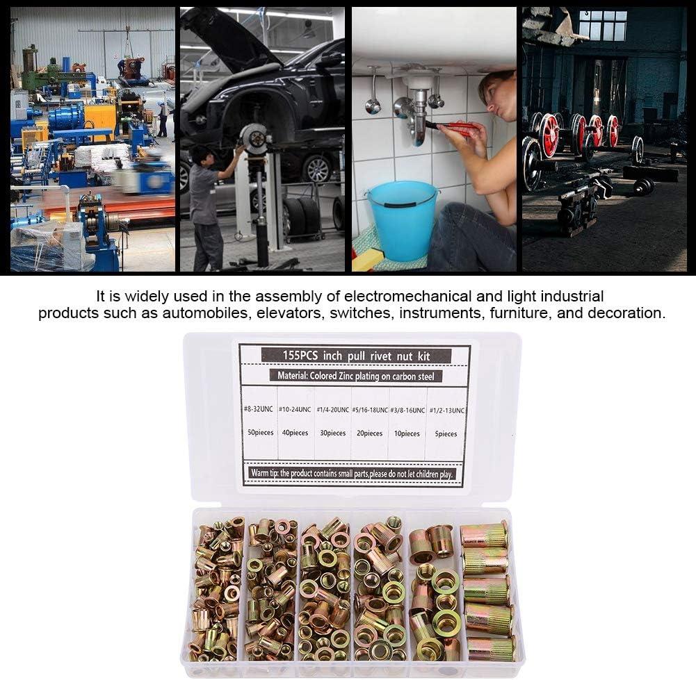 Neufday Rivet Nut,Colored Zinc Plating Carbon Steel Rivet Nut Rust-Proof Insert Nut 155pcs//box
