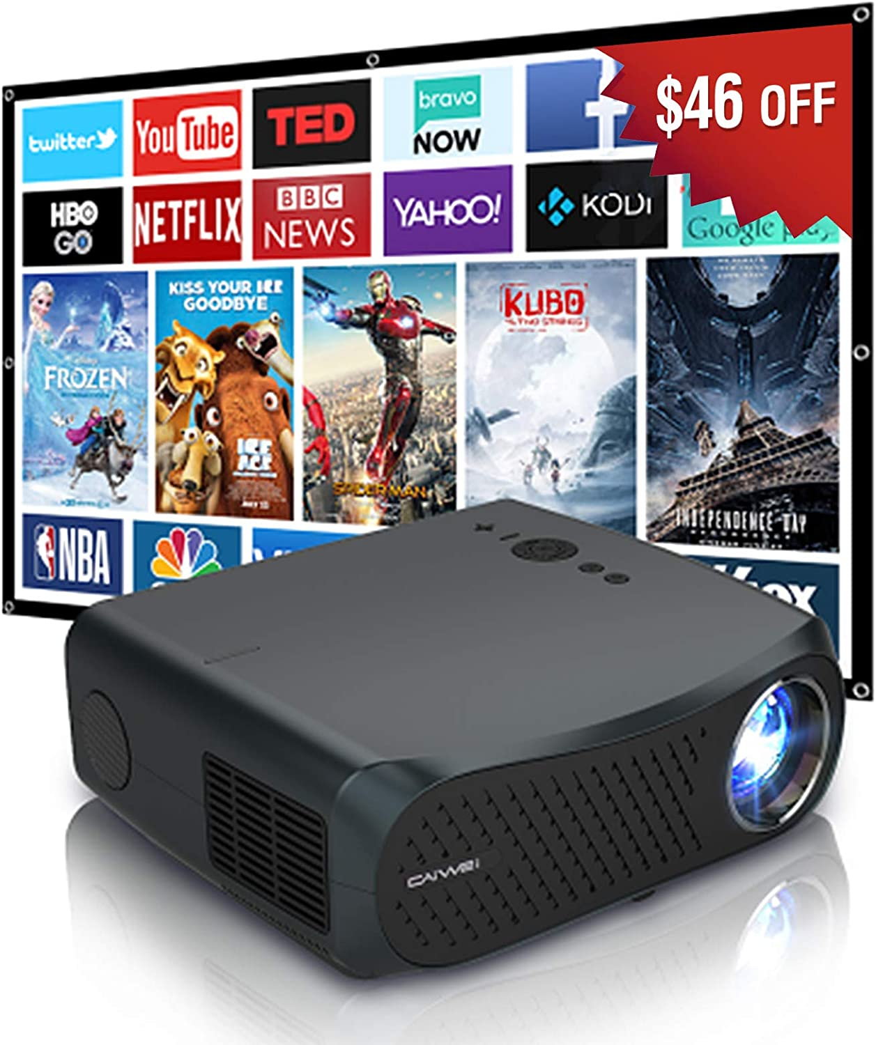 Projector 1080P, 2021 Upgrade 7200lumen Support 4K Wireless Home Theater Projectors with Bluetooth WiFi HDMI USB Speaker for Outdoor Moive Office Presentation DVD Playstation Games Fire TV Stick