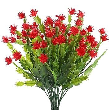 Nahuaa Kunstliche Blumen 4 Stuck Kunststoff Pflanzen Blumen Rot