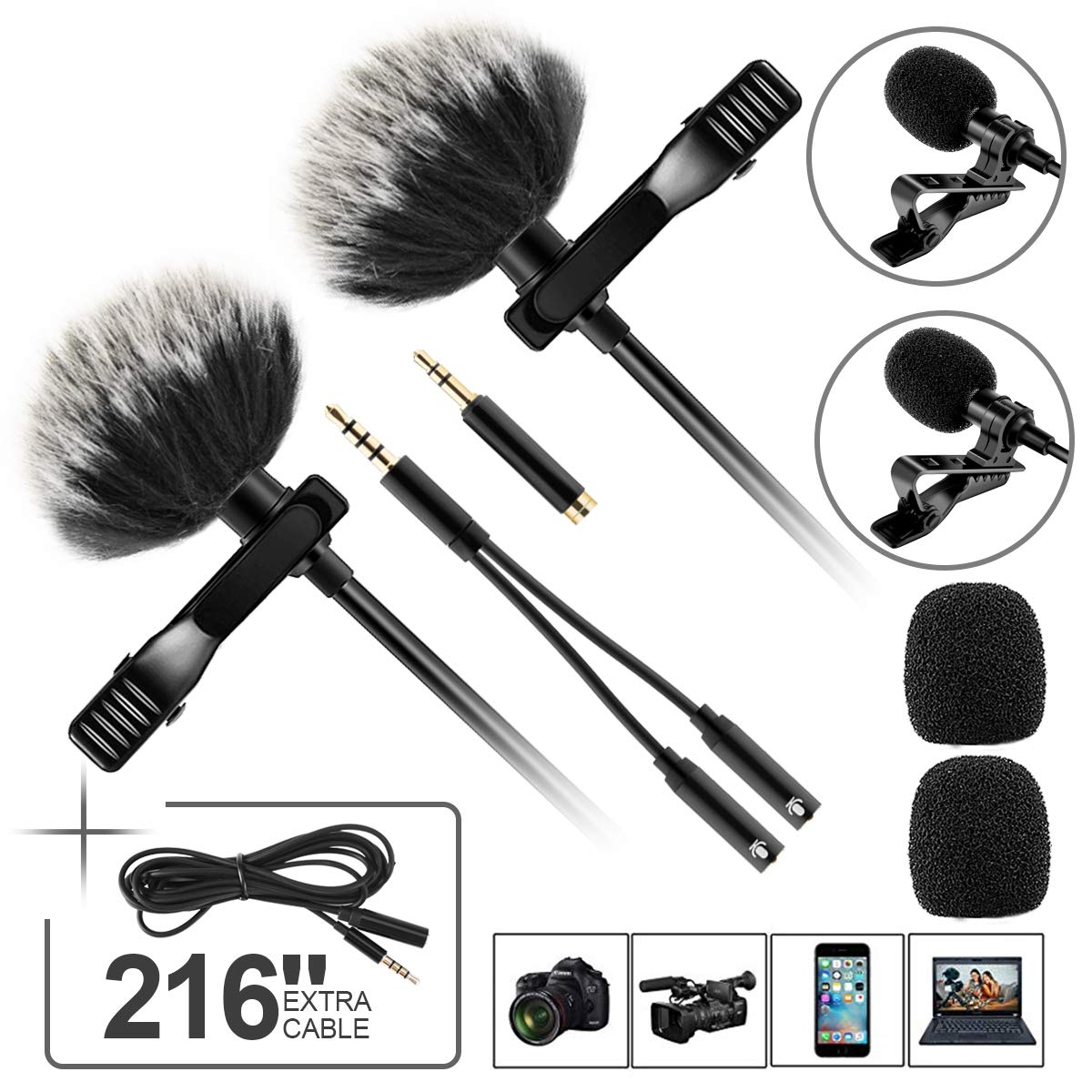 Double lavalier Microphone with 6M Extension Cable, Compatible with Mobile Phone Camera Computer by BESTFYOU