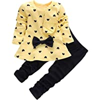 MH-Lucky Baby Girl Clothes Infant Outfits Set 2 Pieces Long Sleeved Tops + Pants
