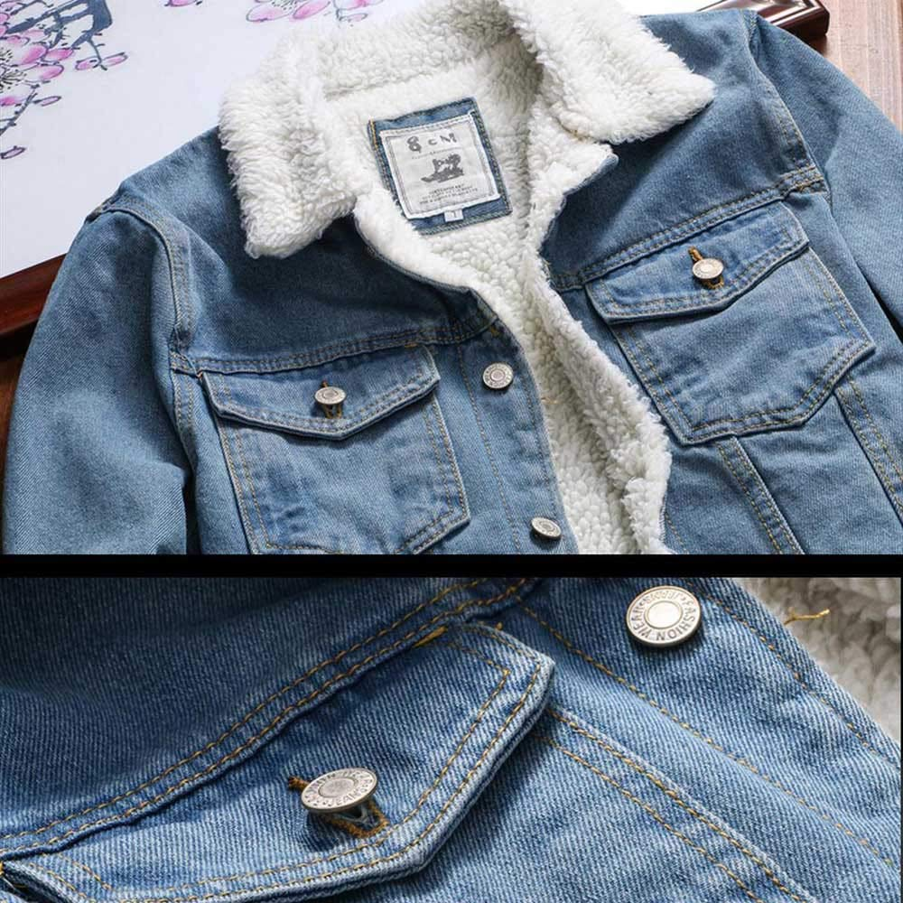 Hemlock Women Plus Size Denim Jacket Faux Fur Denim Cardigan Coat Long Loose Jeans Outerwear Pullover Tops