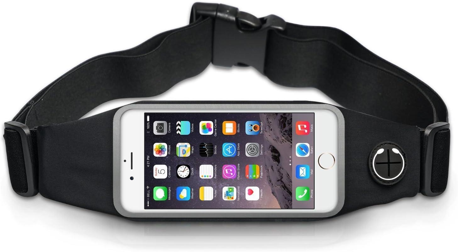Qumaxx® Sport hüftasche Sport Negro Cinturón Correr de Unidad de Agua Densidad elástica Teléfono Móvil Funda–Bolso riñonera para Hombre y Mujer
