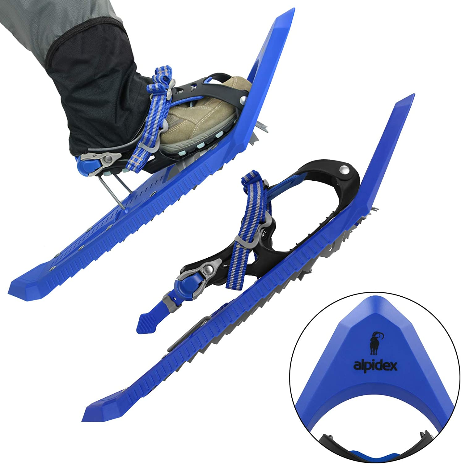 ALPIDEX Snowshoes Climbing Aid Shoe Sizes 38 to 45 User Weight up to 130 kg Carrying Bag Optional Telescopic Poles