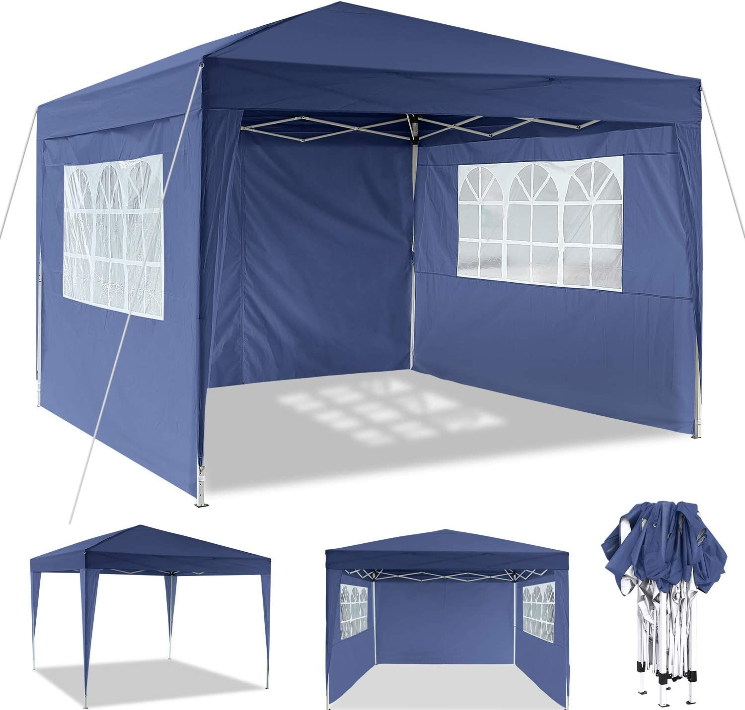 Heavy Duty Gazebo Full Waterproof Sun-protective Marquee Tent with 4 Sidewalls and Carry Bag for Garden YUEBO 3x3m Gazebo Instant Shelter Beach Flea Market