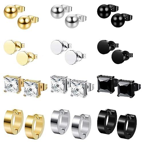 9b2c21a947 Milacolato 12 Pairs Stainless Steel CZ Stud Earrings for Women Mens Huggie  Hoop Earrings