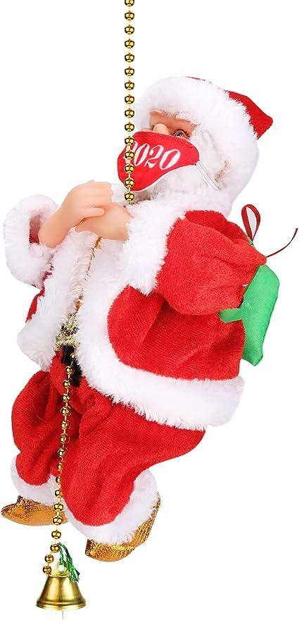 Achort Santa Toy Electric Santa Claus Ladder Rope Climbing Toy Christmas Kids Gift Home Party Decor Santa Escalada en Cuerda, Cantando Figura de Papá ...