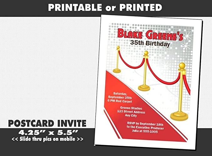 Hollywood Red Carpet Birthday Party Invitation Printable Or Printed Option
