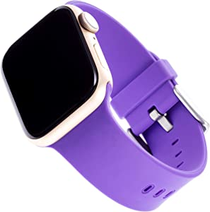 WITHit Silicone Replacement Band for Apple Watch, 38/40mm, Lavender – Secure, Adjustable Stainless-Steel Buckle Closure, Apple Watch Sport Band Replacement, Fits Most Wrists