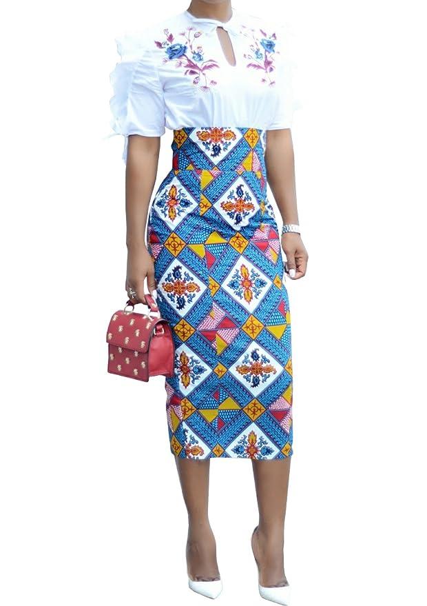 Review Runcati Womens African Print Floral Midi Knee Length Skirts Slim Fit Bodycon High Waist Pencil Dresses