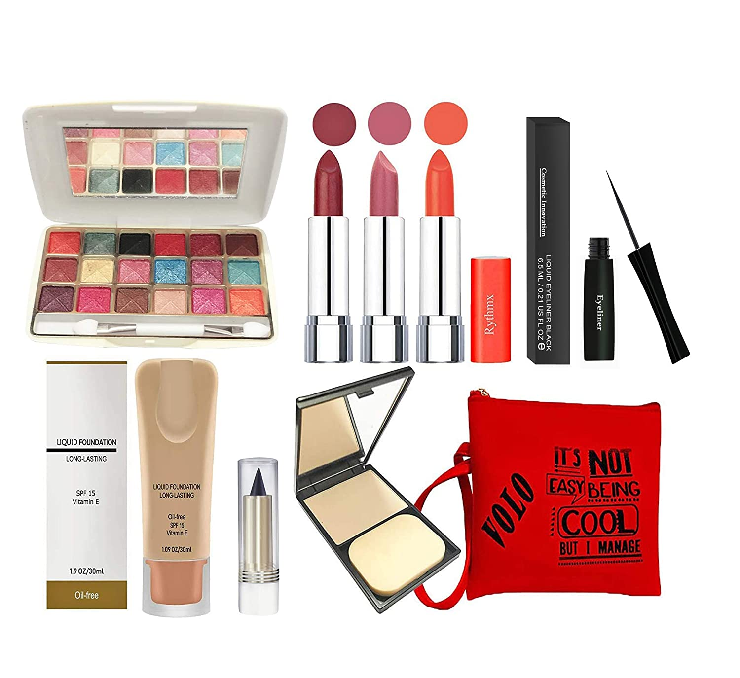 volo All In One Professional Women's Makeup Kit (3 Pcs Lipsticks,1 Eye Shadow, 1 Foundation,1 Eyeliner, 1 Compact, 1 Kajal, 1 Pouch)