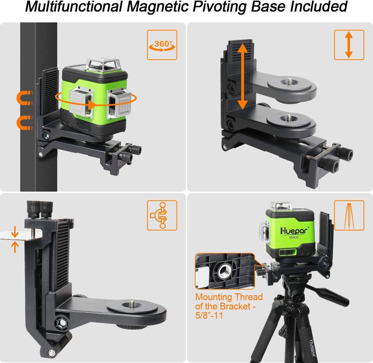 Laser Level Auto-nivellement Commutable Trois Lignes Laser /à 360/° Huepar Niveau Laser Vert /à 3x360 avec Batterie Li-ion Rechargeable Batterie Li-Ion de Rechange et Sac /à Outils Portable Inclus 503CG
