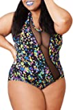 EVALESS Women O-Neck Floral Print One-Piece Swimwear Plus Size
