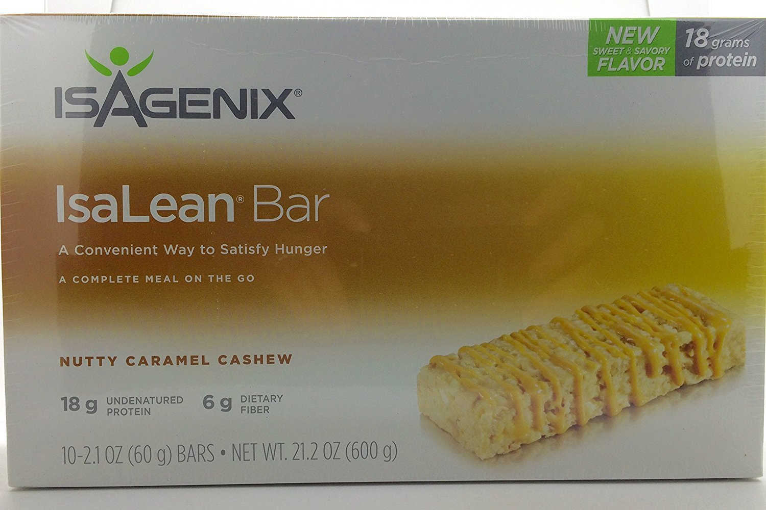 Isagenix Isalean® Bars- Nutty Caramel Cashew- 10 Bars/2.1oz (18g of Protein/6g Fiber) by Isagenix (Image #1)