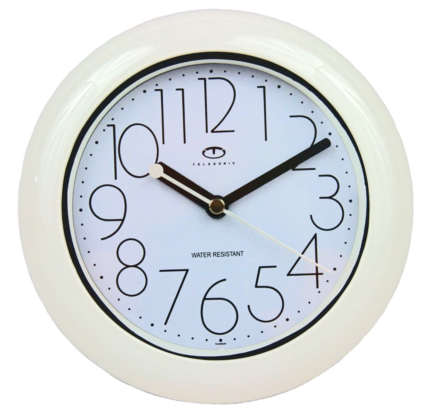 Water Resistant Wall Clock with Quiet Sweep Movement - White