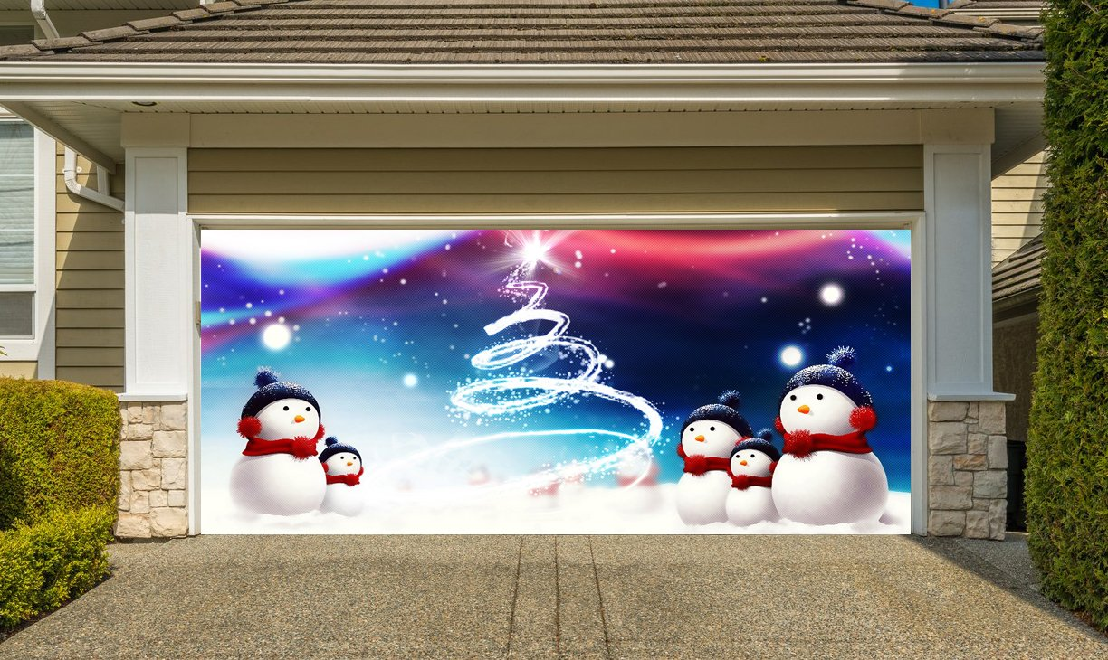 Christmas Garage Door Cover Banners 3d Snowman Holiday Outside Decorations Outdoor Decor for Garage Door G65