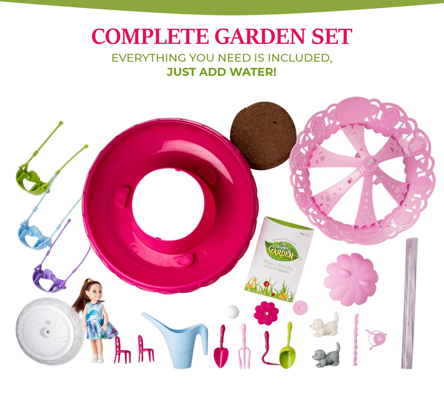 Kids Garden Set for Boys and Girls 3 - 10 Years Old - Best Fairy Gardening Gift - Grow Magic Flowers and Plants Indoor - Montessori Toy for Toddlers (Pink)