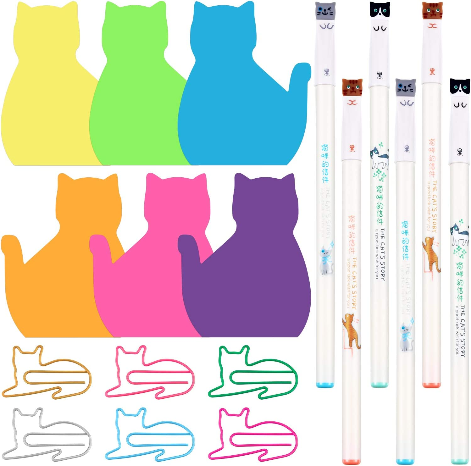 180 Sheets Cute Cat Sticky Notes, 60 Pieces Cat Paper Clips and 6 Pieces Creative Cat Gel Ink Pens for Home Office School Stationary Cat Lover Gifts