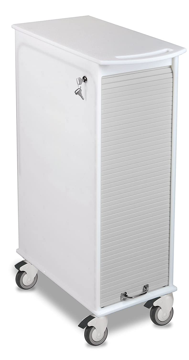 TrippNT 51063 Polyethylene Lockable Narrow Cart with Gray Front, 12 Width x 35 Height x 17 Depth, White