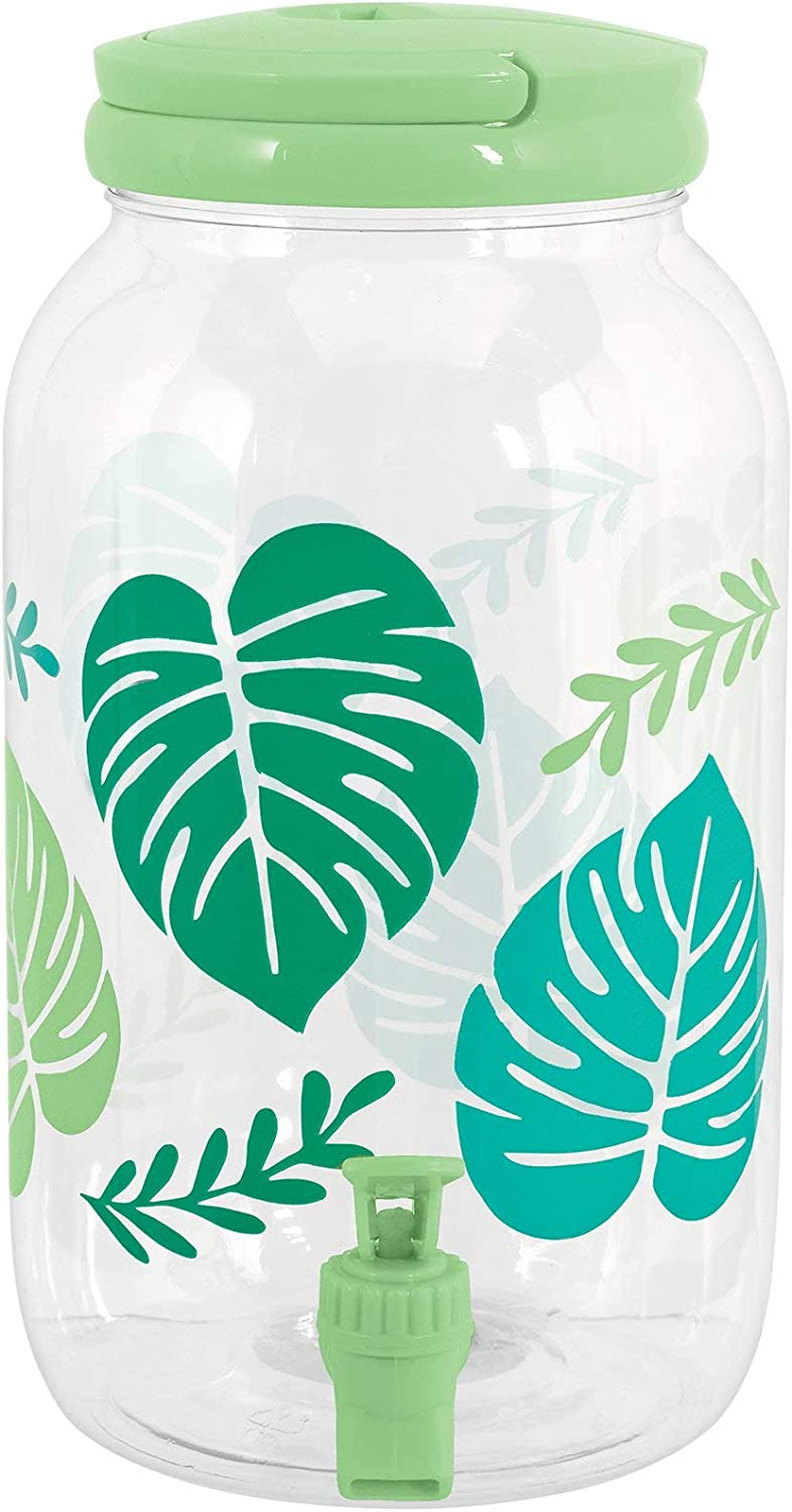 amscan Clear Jungle Leaves Plastic Drink Dispenser - 1gal, multi, one size