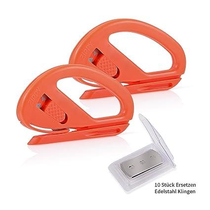 winjun 2 unidades naranja Pantalla Cortador Seguridad Cortador de papel manualidades Cuchillo abrecartas con 10 Pack