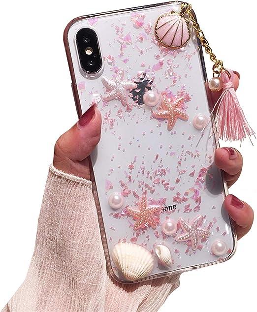 Rembcom Coque iPhone XS Coque Femme avec Perle Coquille Étoile de ...