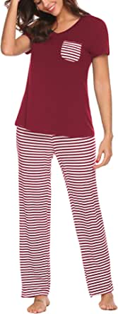 Hotouch Womens Pajama Set Striped Short Sleeve Top & Pants Sleepwear Pjs Sets