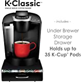 K-Classic Coffee Maker, Black and Under Brewer 35 K-Cup Coffee Pods Storage Drawer