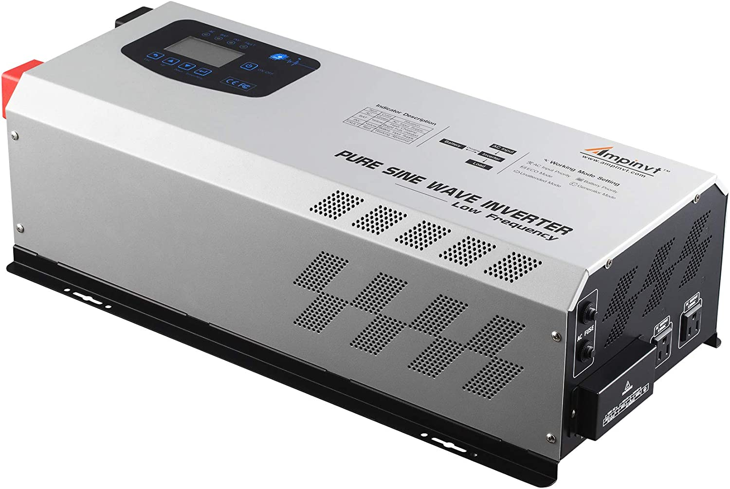 5000W Peak 15000watts Pure Sine Wave Power Inverter 24V DC to 120/240 VAC Split Phase with Battery AC Charger,Off Grid Low Frequency Solar Inverter for Lithium, Sealed,AGM, Gel,and Flooded Batteries