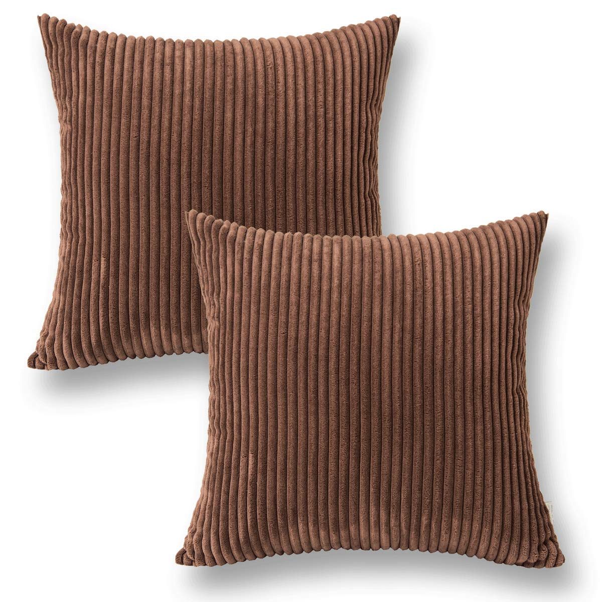 Jeanerlor Home Decoration Super Soft Corduroy with Vertical Stripes Euro Throw Pillow Sham Cushion Cover for Sofa, 18 x 18 inch (45 x 45 cm), Brown, Set of 2