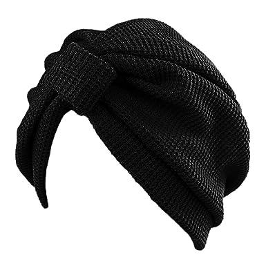 8011116afc5 Merssavo Femme Homme Turban Indien Bonnet en Coton pour le printemp et  l u0027hiver Noir Pour Vacances Conge Voyage Ete Vacances d u0027ete  Amazon.fr ...