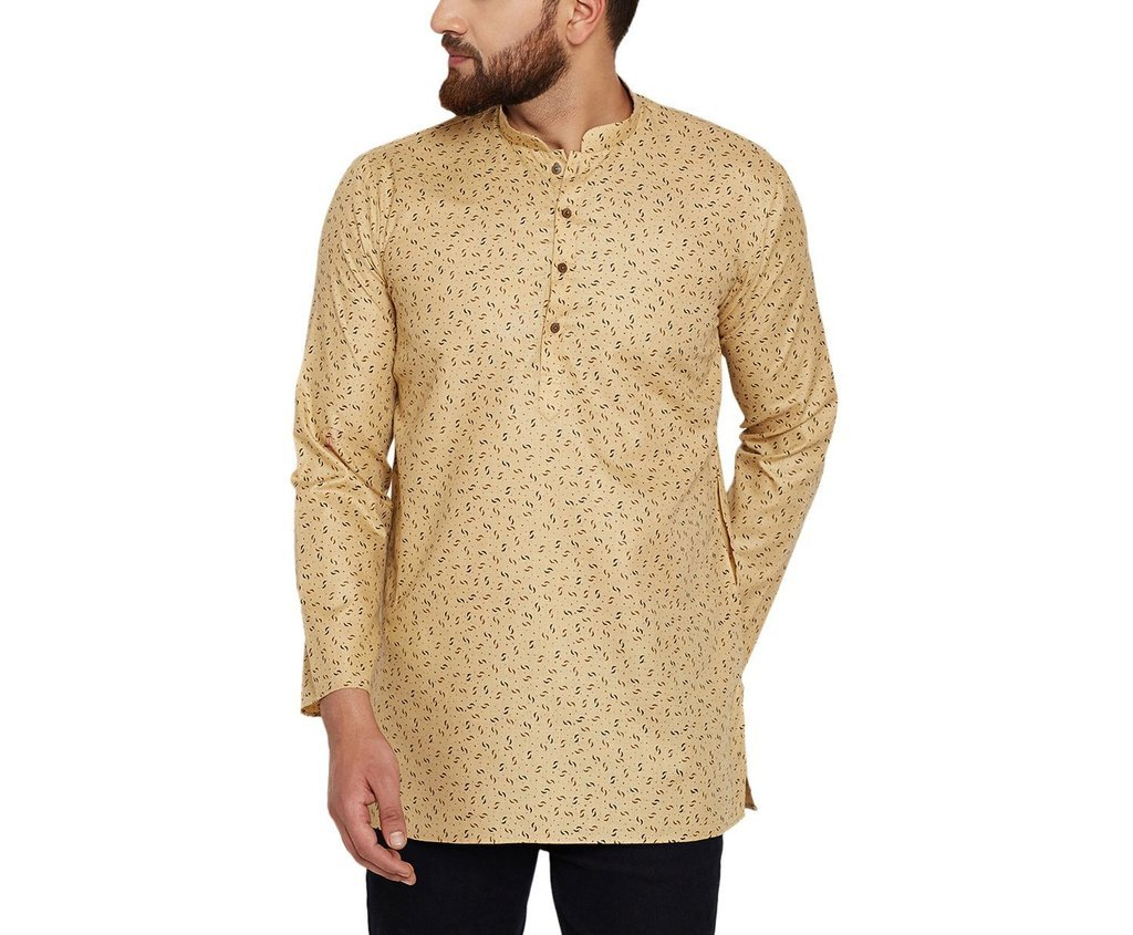 CRAFTSTRIBE Men'S Cotton Linen Printed Short Kurta